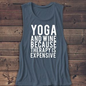 Tops - YOGA AND WINE MUSCLE TANK